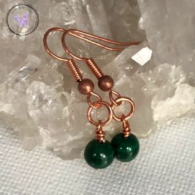 Malachite Copper Circle Earrings